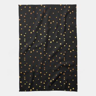 Gold Dots Confetti Faux Foil Metallic Dot Black Kitchen Towel