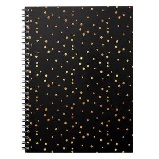Gold Dots Confetti Faux Foil Metallic Dot Black Notebooks