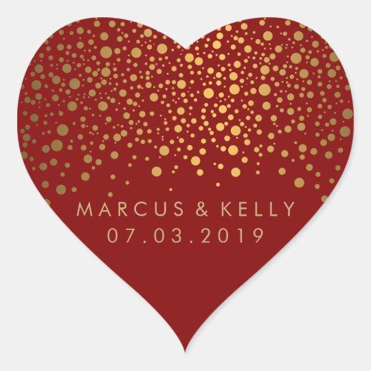 Gold Dots Confetti on Maroon | Wedding Heart Sticker