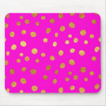 Gold Dots Faux Foil Hot Pink Magenta Pattern Mouse Pad