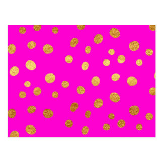 Gold Dots Faux Foil Hot Pink Magenta Pattern Postcard
