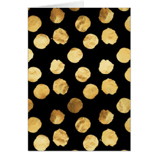Gold Dots Faux Foil Metallic Black Background Card