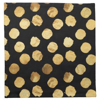 Gold Dots Faux Foil Metallic Black Background Cloth Napkins