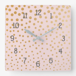 Gold dots on blush pink bedroom nursery clock