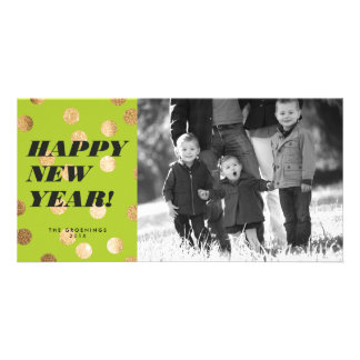 Gold Dots on Lime Green Type Happy New Year Card Photo Cards