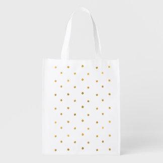 Gold Dots Reusable Grocery Bag