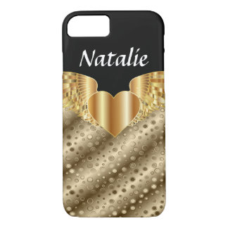 Gold Dots & Wings Heart Custom Cell Case