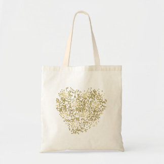 Gold Dotted Heart Tote Bag