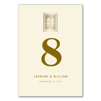 Gold Double Happiness Chinese Wedding Table Number