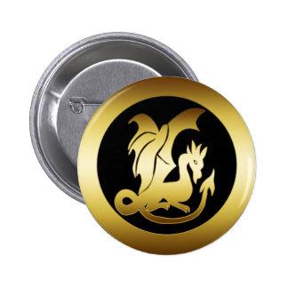 GOLD DRAGON 2 INCH ROUND BUTTON