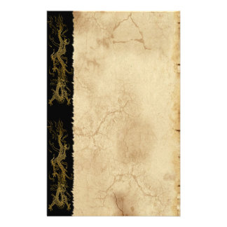 Gold Dragon Asian Parchment-effect Stationery