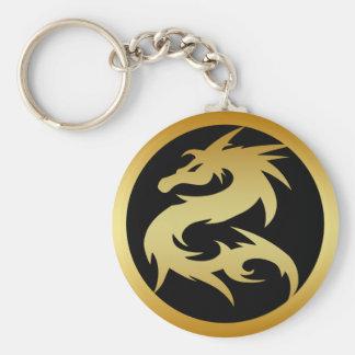 GOLD DRAGON BASIC ROUND BUTTON KEYCHAIN