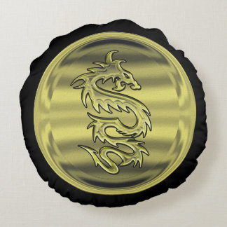 Gold Dragon coin Round Pillow