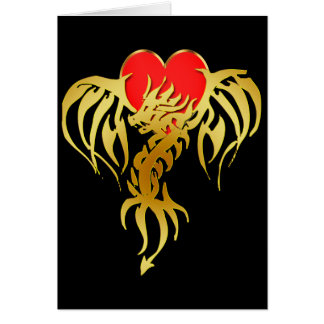 GOLD DRAGON HEART GREETING CARD