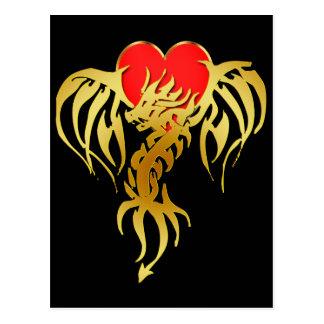 GOLD DRAGON HEART POSTCARD