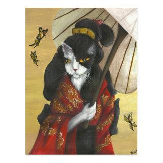 Gold Dragon Kimono Cat Postcard