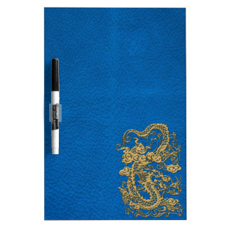 Gold Dragon on Lapis Blue Leather Texture Dry-Erase Whiteboard