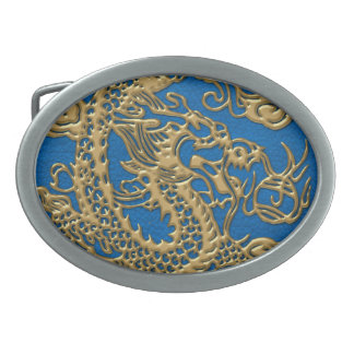 Gold Dragon on Lapis Blue Leather Texture Oval Belt Buckle