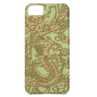 Gold Dragon on Lime Green Leather Texture Case For iPhone 5C