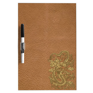 Gold Dragon on Natural Tan Leather Texture Dry-Erase Whiteboards