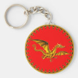 gold dragon on red keychain