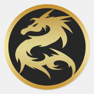 GOLD DRAGON ROUND STICKER