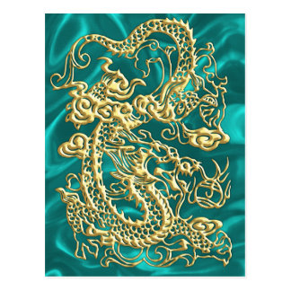 Gold Dragon Turquoise Satin Lush Gold Card Postcard