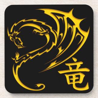 Gold Dragon with Kanji Symbol Coaster