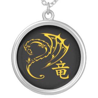 Gold Dragon with Kanji Symbol Custom Necklace