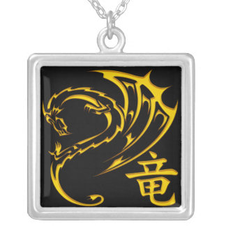 Gold Dragon with Kanji Symbol Silver Plated Necklace