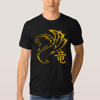 Gold Dragon with Kanji Symbol T Shirts