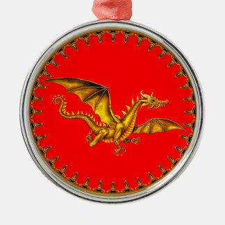 gold dragon with red background metal ornament