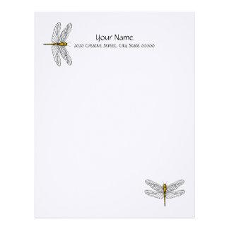 Gold Dragonfly Letterhead Linen Stationary