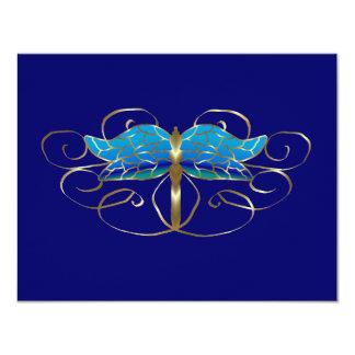 Gold Dragonfly Tiara Wedding RSVP Card