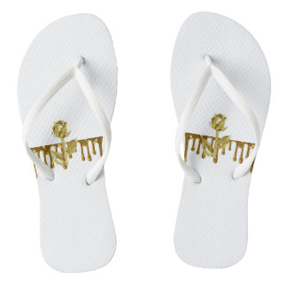 Gold dripping rose White Adult, Slim Straps Flip Flops