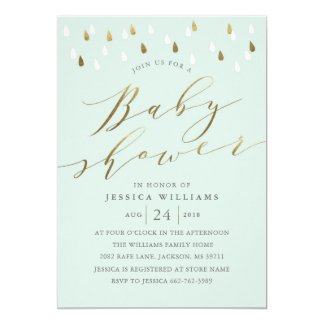 Gold drops and script baby shower invite in mint
