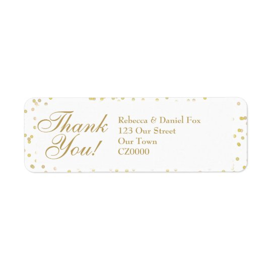 Gold Dust Confetti Wedding Thank You