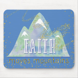 Gold Dust Faith Moves Mountains Marina Blue Mouse Pad