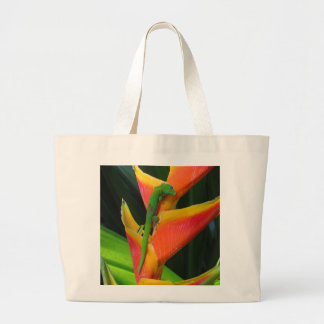 Gold Dust Gecko on Heliconia Large Tote Bag