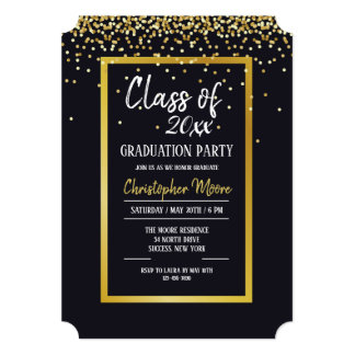 Gold Dust Graduation Party Invitation