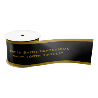Gold Edge - Your Text Repeated - Gold/Black Satin Ribbon