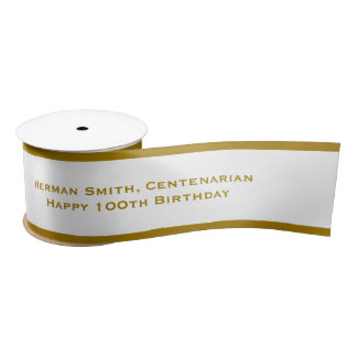 Gold Edge - Your Text Repeated - Gold/White Satin Ribbon