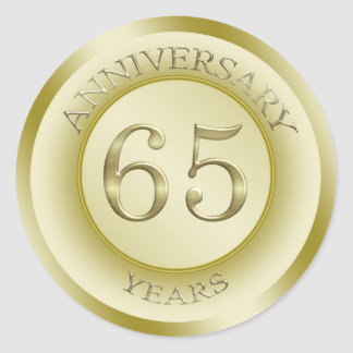 Gold effect 65th Wedding Anniversary Sticker