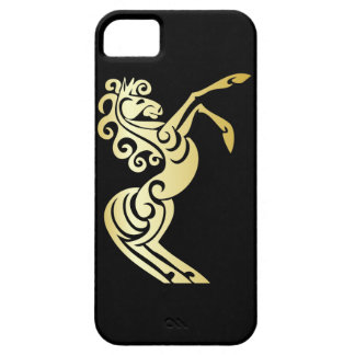 Gold Effect Artistic Horse on Black iPhone 5 Case