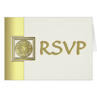 Gold Effect Celtic Knot Wedding RSVP Card