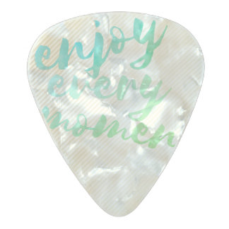 Gold Effect Stripes Green Watercolor Typography Pearl Celluloid Guitar Pick