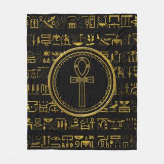 Gold Egyptian Ankh Cross symbol Fleece Blanket