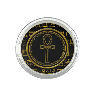 Gold Egyptian Ankh Cross symbol Ring