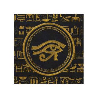Gold Egyptian Eye of Horus - Wadjet Wood Print