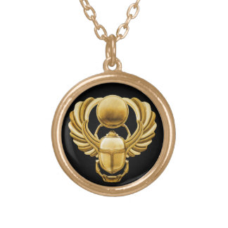 Gold Egyptian Scarab Gold Plated Necklace